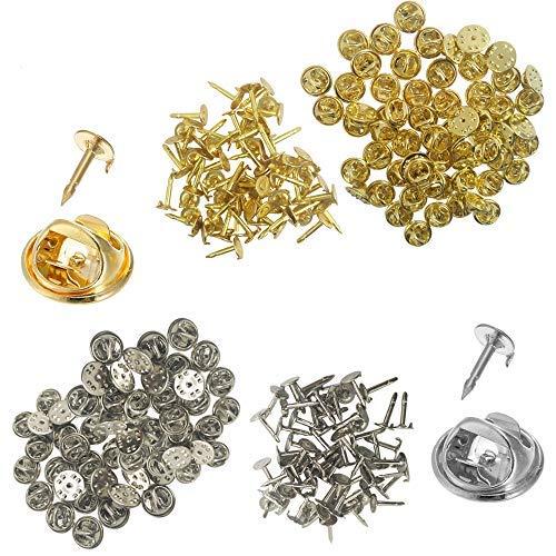 120Pack Schmetterling Kupplung mit blanko Pins, yucool Pin Rücken Krawatte Nägel Ersatz für Craft & Jewelry Making Silber Gold