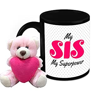 Mug for Sister - HomeSoGood My Sister is My Superpower White Ceramic Coffee Mug with Teddy - 325 ml