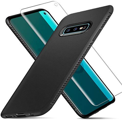 AROYI Custodia Samsung Galaxy S10e Cover Silicone + Pellicola Protettiva in Vetro Temperato, Slim Morbido TPU Bumper Case Antiurto Anti-Impronta Antigraffi Case Cover per Galaxy S10e/S10 Lite - Nero