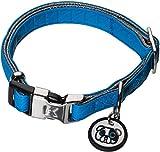 Karl Lagerfeld Haustiere Hunde Halsband aus weichem Leder, Verstellbar, Farbe: Blau, Größe: 15