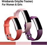 Fitbit Alta Strap, 3 Pcs Fitbit Alta Replacement Wristband with Metal Buckle Clasp for Women and Girls, Classic Bracelet Band with Fastener