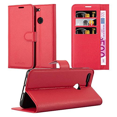 Cadorabo Hülle für ZTE Blade V9 - Hülle in Karmin ROT – Handyhülle mit Kartenfach und Standfunktion - Case Cover Schutzhülle Etui Tasche Book Klapp Style