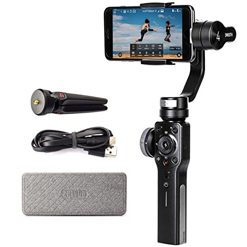 Zhiyun Smooth 4 3-Achsen Handheld Gimbal Stabilizer mit Fokus Pull & Zoom-Fähigkeit, 12 Stunden Laufzeit für iPhoneX / 8/7 / 7Plus / 6/6 Plus (Nicht vorübergehend Android unterstützen) Kamera Mobile Handy