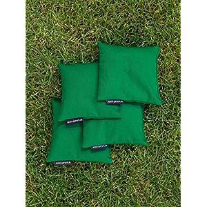 4 Cornhole Säckchen grün (Granulat oder Mais), 15 x 15 cm, 400g (oder 250g) – Top Qualität made in Germany, handgemachte…