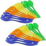 COM-FOUR ® 24X eierloeffel in plastica, cucchiaini da dessert in blu, giallo, verde e arancione (24pezzi)