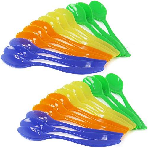 COM-FOUR® 24 cuillères à oeufs en plastique, cuillères à dessert en bleu, jaune, vert et orange (24 pièces)