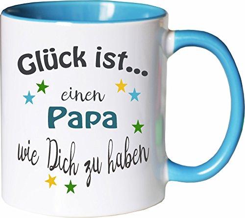 WarmherzIch Becher Tasse Glück ist... Papa Kaffee Kaffeetasse liebevoll Bedruckt Vater Vati Vatertag Vadder Weiß-Hellblau