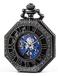SEWOR Octagon Old School Estilo Hollow números Romanos mecánica Mano Viento Reloj de Bolsillo (Negro)