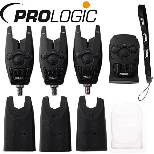 Prologic BAT+ Bite Alarm Blue Set 3+1-3 Bissanzeiger + 1 Receiver zum Angeln auf Karpfen, Karpfenbissanzeiger zum Karpfenangeln