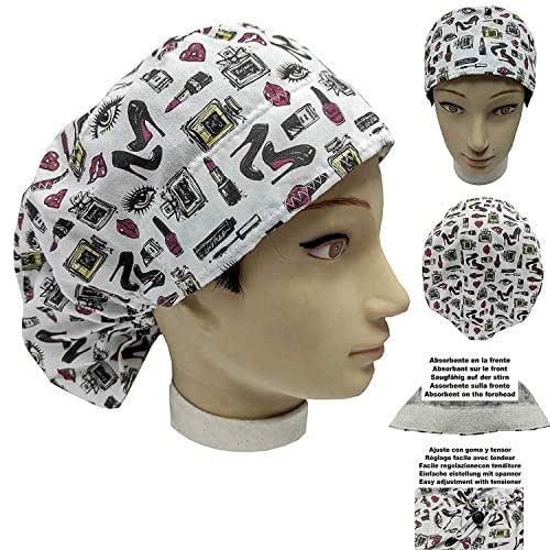Cappello chirurgico Donna ACCESSORI DI BELLEZZA per Capelli Lunghi, veterinario, dentisti, cucina, asciugamano davanti, regolabile a proprio piacimento con tenditore