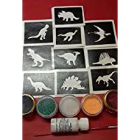 Dinosaur glitter tattoo set including 30 stencils + glitter + glue T-Rex mammoth