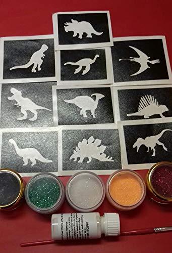 Dinosaurier-Themen Glitter Tattoo-Set mit Schablonen + Glitzerkleber Jungen T-Rex Geburtstagsgeschenk