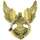 Two Moustaches Open Winged Eagle Design Brass Door Knocker (Standard Size; Antique Yellow)