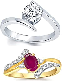 Lady Touch Combo Of Ruby 24K Gold Silver Diamond Ring For Girls And Women In American Diamond Cubic Zirconia Ring