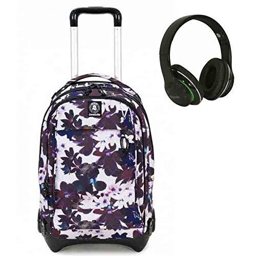Trolley invicta plug - fiori fantasia - 35 lt - zaino sganciabile e lavabile - scuola e viaggio + regalo cuffie seven wireless con microfono interno ricarica cavo usb