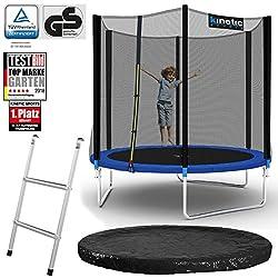 Kinetic Sports Outdoor Gartentrampolin Komplett-Set inkl. Sicherheitsnetz Randabdeckung Leiter Abdeckplane für Kinder und Erwachsene Ø 244 cm