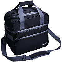 MIER doble compartimento bolsa térmica tamaño grande con aislamiento bolsa para el almuerzo, Picnic, playa, comestibles, kayak, viajes, Camping, Negro