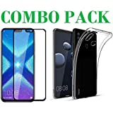 ADRY Combo Offer - 5D_Tempered Glass & Transparent Back Cover_Premium Quality Screen Guard And Soft Case Cover For Huawei Honor 8X