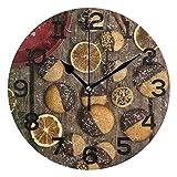 AMONKA Runde Wanduhr, Lebkuchen Schokolade Kekse Holzbrett, Nicht tickend, geräuschlose Acryl-Uhren für Wohnzimmer, Schlafzimmer, Küche, Schule, Büro