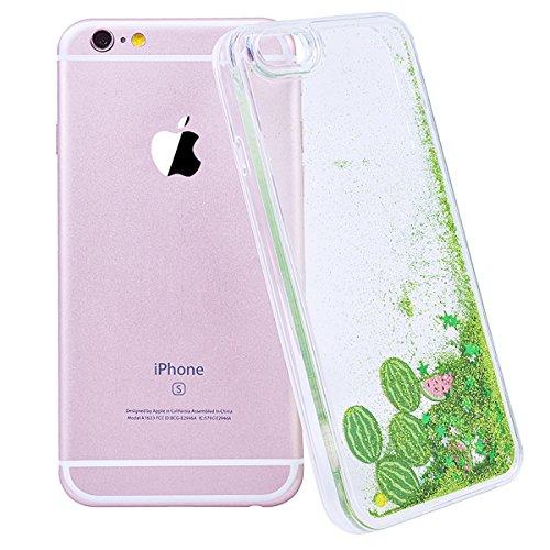 WE LOVE CASE Coque iPhone 6, Coque iPhone 6S de Protection en Hard Dur Bling Coque iPhone 6S Paillette Liquide Transparent avec Motif Antichoc Bumper Mince, Ultra Slim Original Fine Officiel Fille Fem Vert Rouge