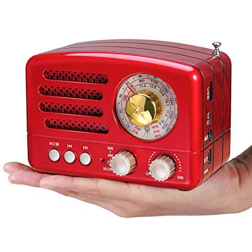 PRUNUS Klassisches Retro-Holz Design UKW FM AM(MW) SW SD USB MP3 Bluetooth Transistor Laderadio mit Lautsprecher, unterstützt AUX-Funktion, 270° großes Kompass Tuning Fenster. (Rot) -