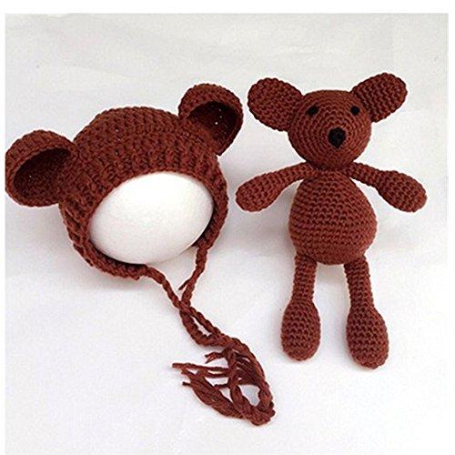 Häkel-Kostüm für Babys, Mütze mit Bär