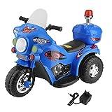 ICOCO Elektromotorrad Kinder Fahrzeug Elektrisches Kindermotorrad Elektrofahrzeug kinderfahrzeuge Elektro Polizei Motorrad für Kinder von 2 bis 6 Jahren (Blau)
