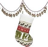 Weihnachtskalender Strümpfe / Dekorationsartikel / Strickmuster mit vielen weihnachtlichen Details: Elche, Tannen, Schneeflocken / ca.250cm lang / Strümpfe ca.13cm / Trendyshop365