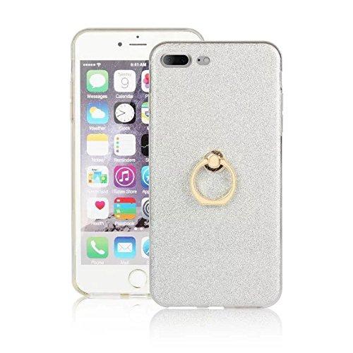 EKINHUI Case Cover Luxus Bling Sparkle Style Case, Soft TPU [Silikon] Flexible Glitter Rückentasche mit Fingerring Stand [Anti Scratch] [Shockproof] für iPhone 7 Plus (5,5 Zoll) ( Color : Black ) White