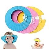 Baby shower Cap, Shineus regolabile impermeabile bagno Cap visiera cappello doccia bagno protezione morbido berretto per bambini Baby Kids, set da 3(rosa, blu, giallo)