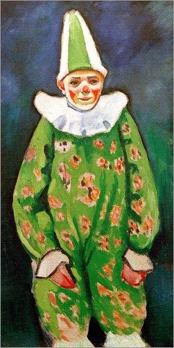 Hartschaumbild 90 x 180 cm: Clown in grünem Kostüm von August Macke/akg-Images