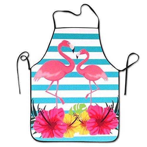 Draujy Kochschürze mit rosa Flamingos und Blumen, Unisex, Küchenschürze mit verstellbarem Hals zum Kochen, Backen, Gartenarbeit, 71 x 53 ()