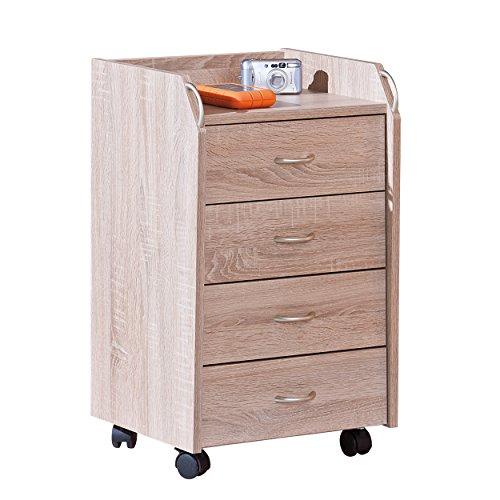 Inter Link Rollcontainer Bürocontainer Rollschrank Schubladenkommode Büroschrank KF-Board Sonoma-Eiche Nachbildung