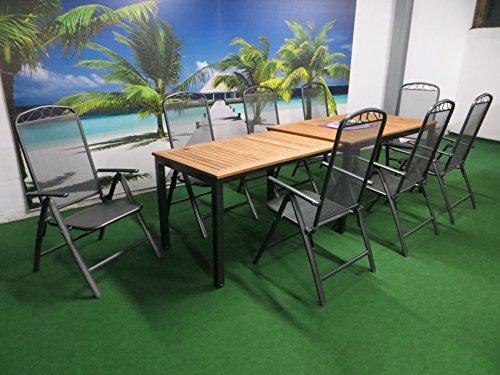 9-teilige Luxus Aluminium Teak Streckmetall Gartenmöbelgruppe 'Bukatchi RRR' , Klappsessel und Ausziehtisch Tifosi 160/280x90 anthrazit, P16