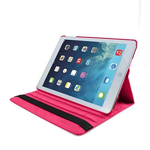 Apple iPad Mini Leder Smart Ständer 360Rotate Case Beutel (Dark Pink)