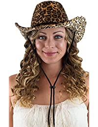 d8392eef93bae Captain Women s Cowboy Hat Leopard Print Cowgirl Hat With Fashion String