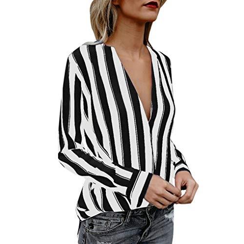 JURTEE Sommer Damen Streifen Oberteile Tiefem V-Ausschnitt Langarm Gestreift Irregulär Saum T-Shirt Bluse Tops(Small,Schwarz)