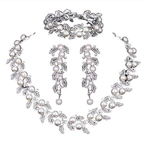 Pearl Leaf Halskette Hochzeit Brautschmuck Crystal Jewelry Sets für Frauen (1Set Ohrringe, 1PCS, 1PCS Armband) -