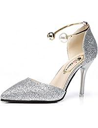 GAOLIM The Hollow Femme Chaussures talons hauts Chaussures de pointe la perle Anneau en métal Argent fine avec un port femelle