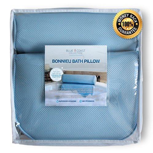 Bonnieu Luxus Badewannenkissen aus der Blue Coast Collection für die Badewanne und den Spa! Starke Saugnäpfe und optimaler Halt für Nacken und Schultern. Ideal für alle Badewannen, Whirlpools und Hottubs! Weiche Textilfasern, dicke Polsterung, rutschfest, leicht zu reinigen und geruchshemmend mit Mesh-Technologie für schnelle Trocknung. - Juckende Haut Badewanne