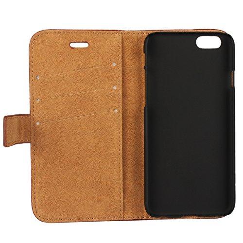 """MOONCASE Coque Portefeuille Cover à rabat Housse en Cuir Synthetique Case Étui pour iPhone 6 (4.7"""") Rouge Kaki"""