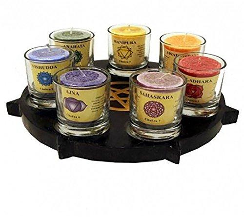 Raum der Stille Pentagramm Kerzenhalter für Sieben Teelichter aus schwarzem Speckstein (Mit Sieben Gläsern und Votivkerzen)