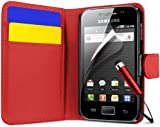 Samsung Galaxy Ace S5830 Flip Pocket Wallet Case Cover, Screen Protector, Polishing Cloth and Mini Stylus