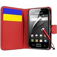 Supergets Samsung Galaxy Ace S5830 Geldbörse Design Hülle, Displayschutzfolie,Touch Screen Stylus Und Polieren Tuch - 5830 Rot Love Portemonnaie
