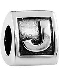 TAOTAOHAS oxidada antiguo sólido plata de ley 925/1000 número alfabeto charm Abalorios perla Abalorios perla [ letra a ] Coloque la pulsera europea