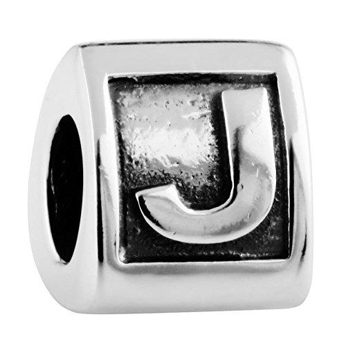 Damen Charm Vintage Buchstabe J 925 Sterling Silber Würfel beads Anhänger für Armband von Changeable (Sterling Buchstaben Perlen)
