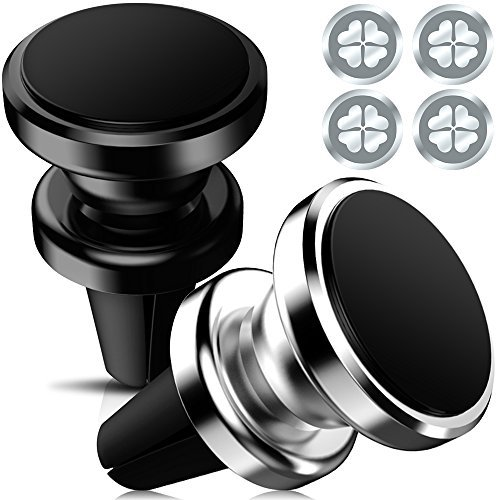 Support de voiture magnétique KEKU 2Pack Air Vent Multi-angle Rotary Phone Holder iPhone 7 6 6s plus 5 5s, Samsung 5s 5 SE, Galaxy S8 S7 S6 Edge, Note5 Nexus 6 (Argent, Noir)