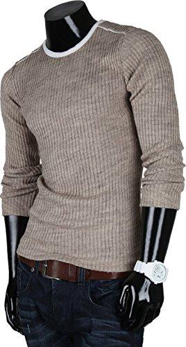 Emimay Herren Pullover Grobstrick Pulli Sweatshirt Strickjacke Hoodie Bison