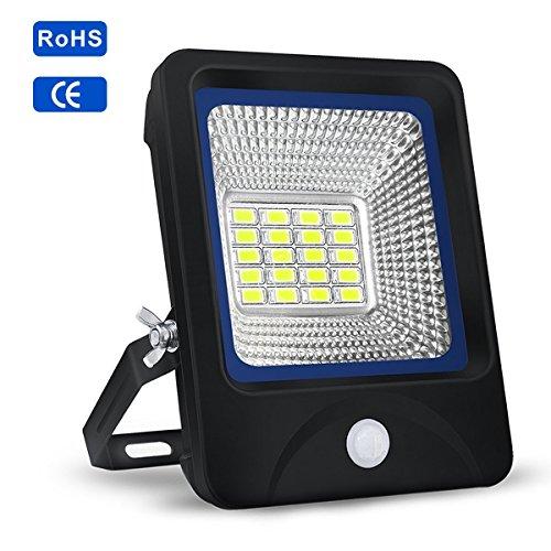 Proyector LED 10W,S&G FOCO LED Sensor de Movimiento + Control de Iluminación 6000K 1000LM IP66,Proyector LED Versátil para Parque,Estacionamientos,Césped,Patio,Porche