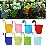 Pots de Fleurs, RIOGOO Pot de fleur Suspendus,Pots de Jardin Balcon Seau en métal Porteurs de fleurs - Crochet amovible (8 pièces)